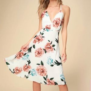 Lulus White floral dress with crisscross straps